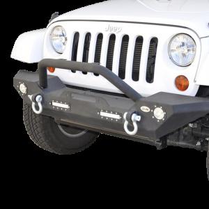 Front - DV8 Front Bumpers - DV8 Offroad - DV8 - Front Bumper   w/ LED Lights   07-18  Wrangler JK   (FBSHTB-07)