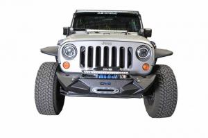 Front - DV8 Front Bumpers - DV8 Offroad - DV8 - Stubby  Front Bumper w/Light bracket  & winch plate   07-18 Wrangler JK  (FBSHTB-24)