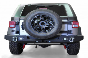 Rear - DV8 Rear Bumpers - DV8 Offroad - DV8 - Rear Bumper  Full Length w/Light Holes 2007-2018 Wrangler JK   (RBSTTB-11)