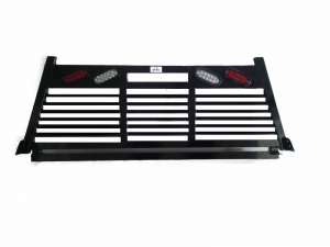 Headache Racks - Roughneck 2 Piece Bolt-on Racks - Roughneck - Roughneck   Bolt On Head   Full Louver  w/Lights (BHRFLWL-DB)